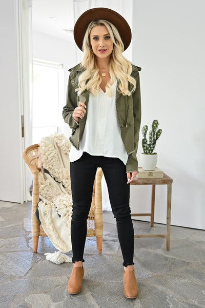 Ready When You Are Utility Jacket - Olive womens trendy olive green zipper detail jacket closet candy front