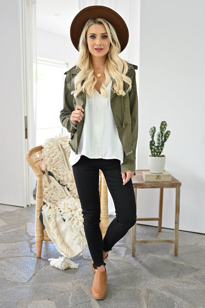 Ready When You Are Utility Jacket - Olive womens trendy olive green zipper detail jacket closet candy front 2