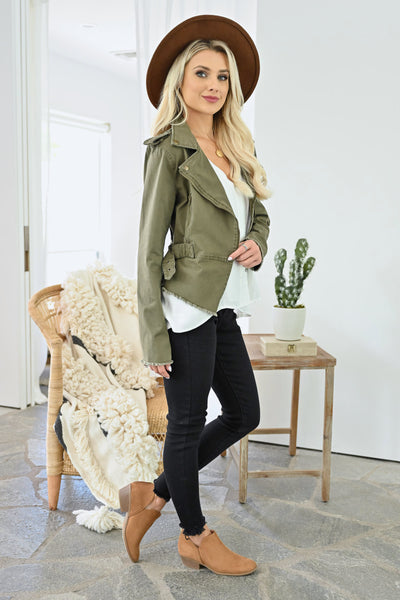 Ready When You Are Utility Jacket - Olive womens trendy olive green zipper detail jacket closet candy side