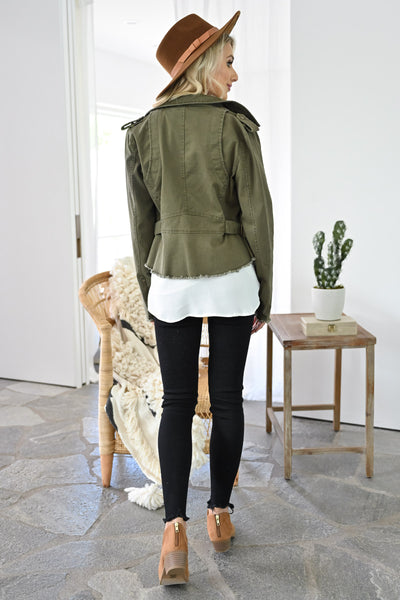 Ready When You Are Utility Jacket - Olive womens trendy olive green zipper detail jacket closet candy back