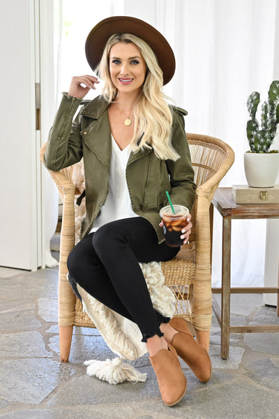 Ready When You Are Utility Jacket - Olive womens trendy olive green zipper detail jacket closet candy sitting