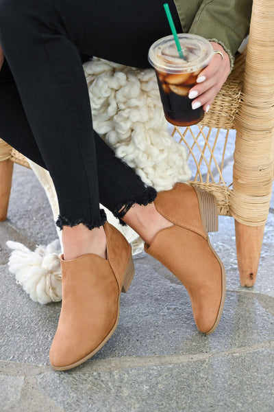 Tara Booties - Camel womens trendy fall short ankle bootie with zipper back closet candy sitting