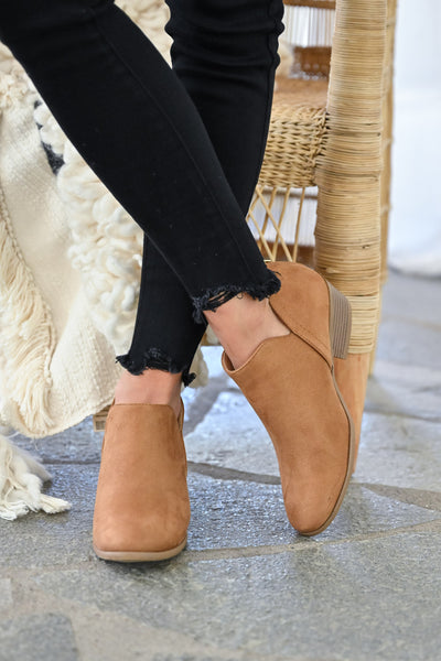 Tara Booties - Camel womens trendy fall short ankle bootie with zipper back closet candy front