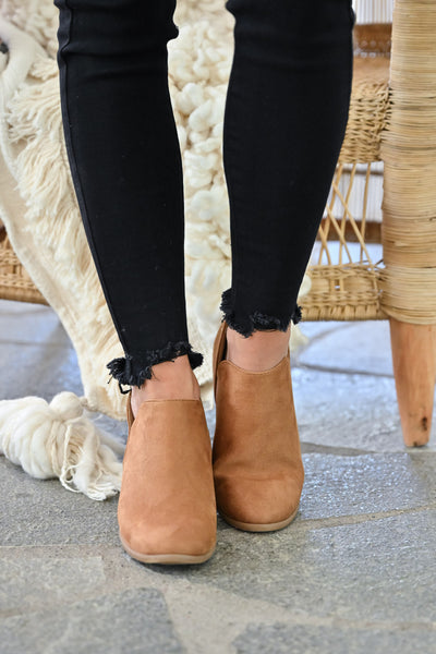 Tara Booties - Camel womens trendy fall short ankle bootie with zipper back closet candy front 2