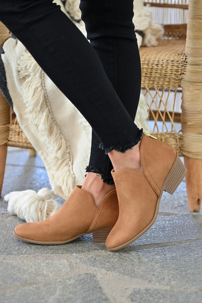 Tara Booties - Camel womens trendy fall short ankle bootie with zipper back closet candy side