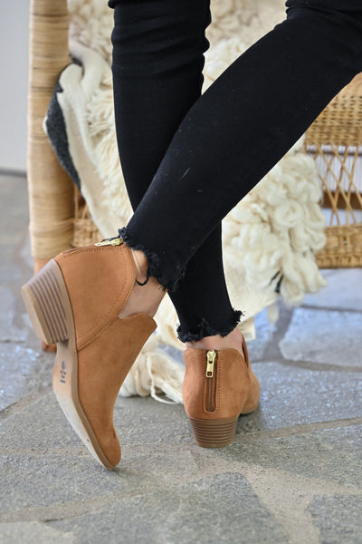 Tara Booties - Camel womens trendy fall short ankle bootie with zipper back closet candy back