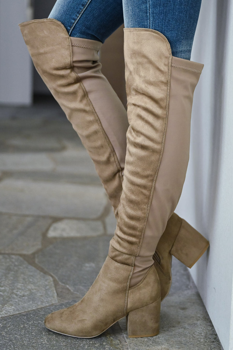 Heidi Over The Knee Boots - Taupe womens trendy suede otk boots with zipper detail for fall closet candy front