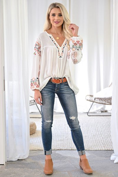 Next Left Top - Ivory womens trendy embroidered lantern sleeve v-neck top closet candy front