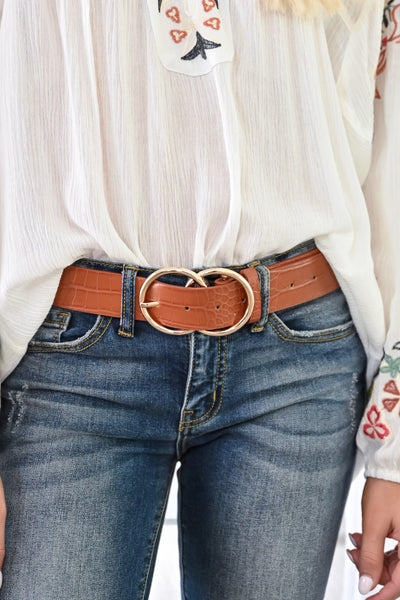 Double Trouble Belt Textured - Tan womens trendy double ring crocodile textured belt closet candy front