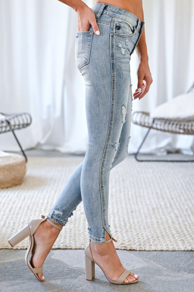 KAN CAN Isabella Split Ankle Jeans - Light Wash womens trendy exposed button distressed denim closet candy side