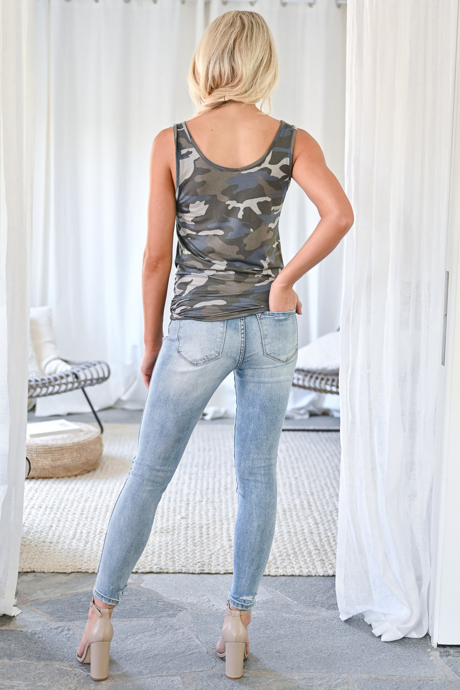 Daily Hustle Tank Top - Camo womens casual camo print thick strap loose fitting sleeveless top closet candy front