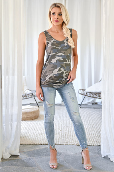 Daily Hustle Tank Top - Camo womens casual camo print thick strap loose fitting sleeveless top closet candy front2