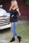 Love Blossoms Top - black cold shoulder top with floral embroidery, side, Closet Candy Boutique 1