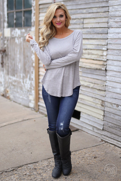 Leave the Night On Top - long sleeve open back cutout top, front view, Closet Candy Boutique