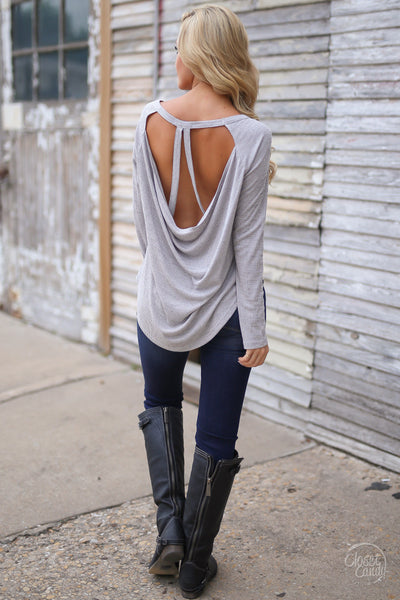 Leave the Night On Top - long sleeve open back cutout top, back view, Closet Candy Boutique
