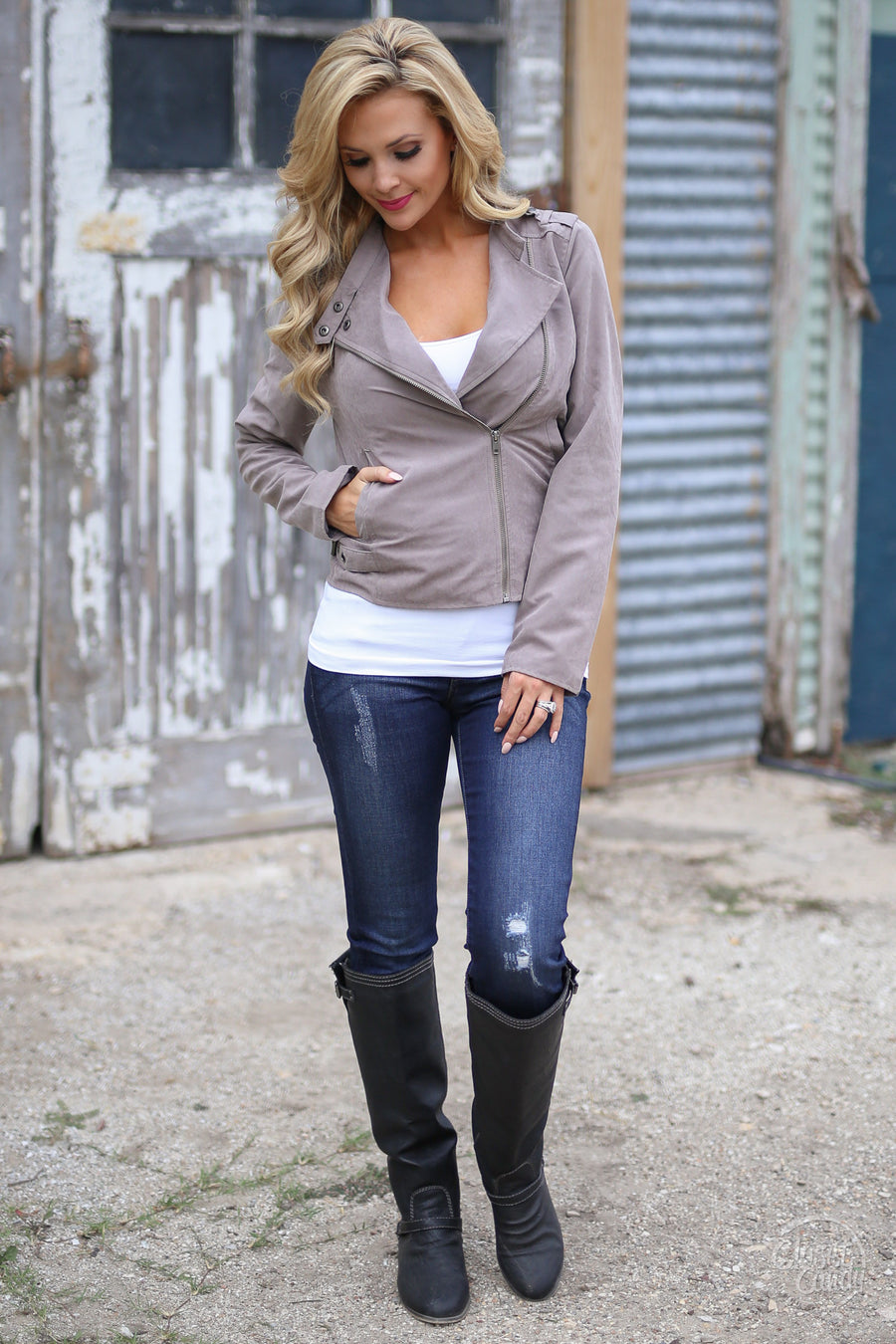 Changing Winds Jacket - Cute taupe moto jacket with zip front, side, Closet Candy Boutique