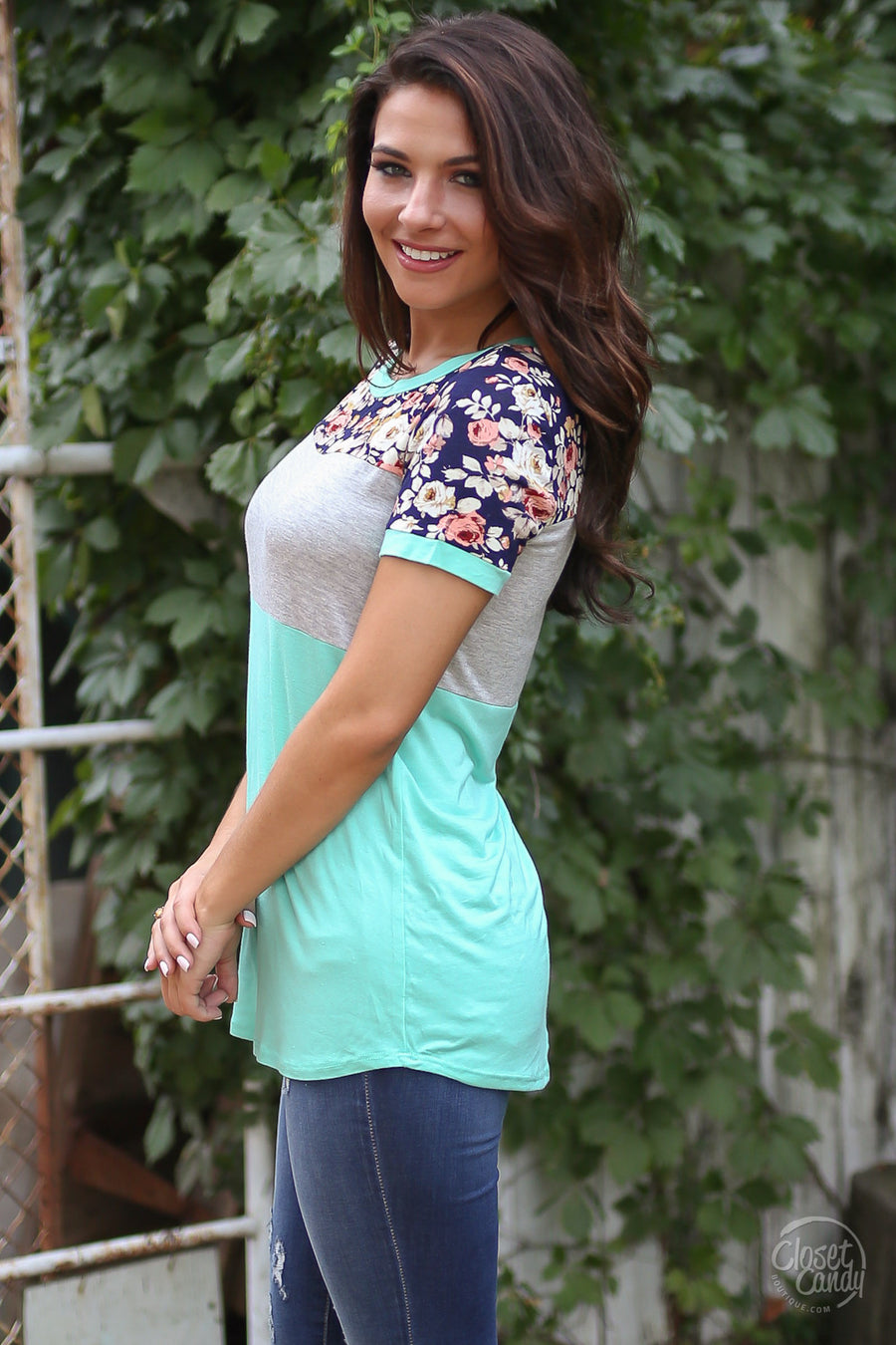 Looking At You Top - Mint and navy color block pattern top, front, Closet Candy Boutique