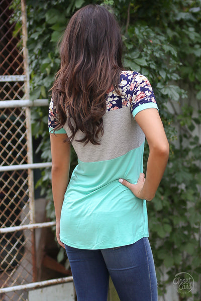 Looking At You Top - Mint and navy color block pattern top, back, Closet Candy Boutique