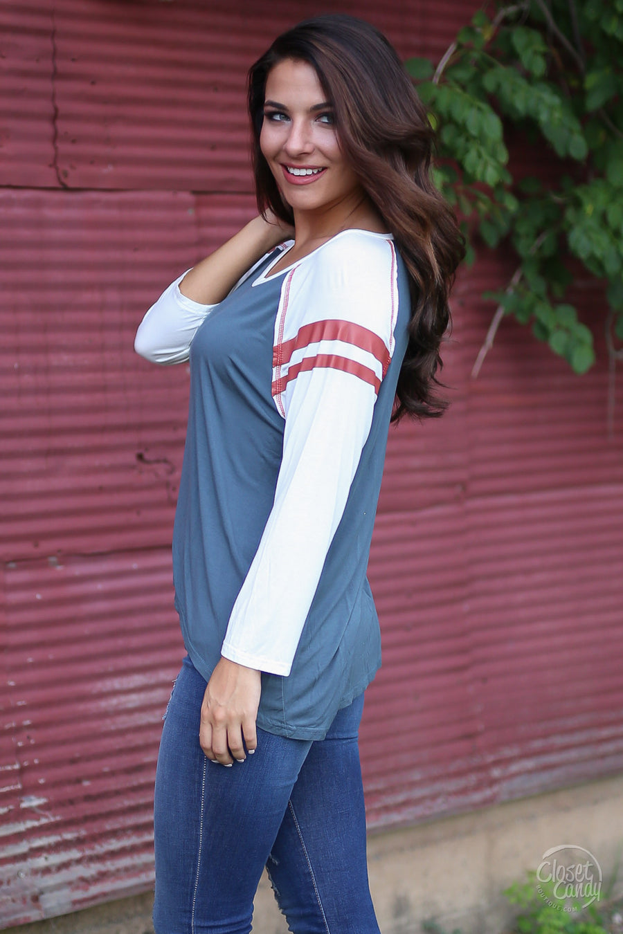 Try To Keep Up Top - slate raglan 3/4 sleeve top, front, Closet Candy Boutique