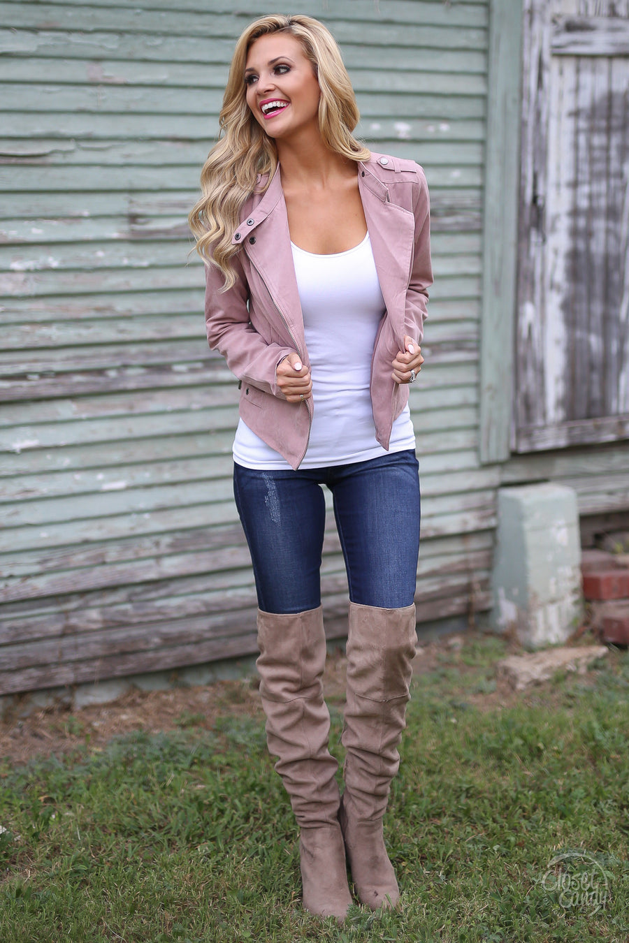 Changing Winds Jacket - blush moto zip front jacket, outfit view, Closet Candy Boutique