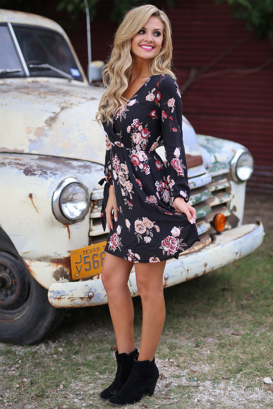 In the Country Dress - floral long sleeve dress, outfit view, Closet Candy Boutique