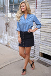 Classic In Corduroy Skirt - black snap front skirt, outfit view, Closet Candy Boutique