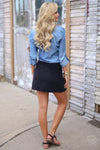 Classic In Corduroy Skirt - black snap front skirt, back view, Closet Candy Boutique