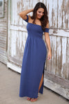 Hello Darling Maxi Dress - blue off the shoulder maxi dress with side slit, front, Closet Candy Boutique