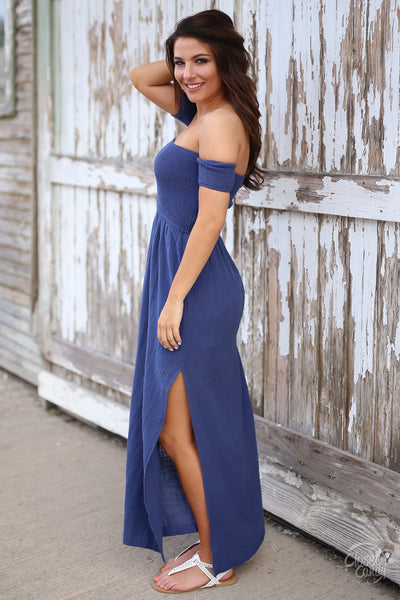 Hello Darling Maxi Dress - blue off the shoulder maxi dress with side slit, side, Closet Candy Boutique