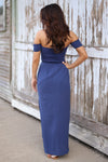Hello Darling Maxi Dress - blue off the shoulder maxi dress with side slit, back, Closet Candy Boutique