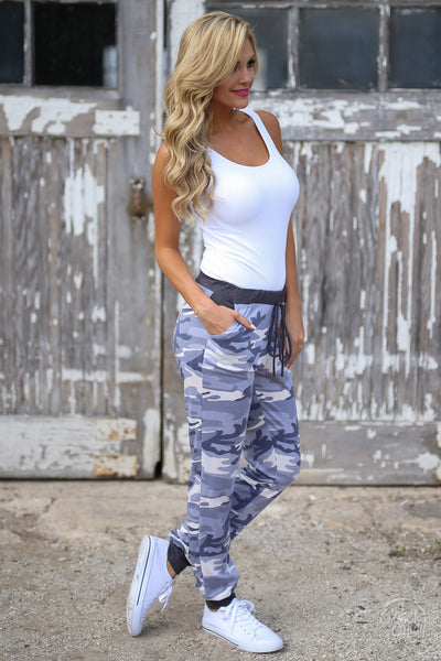 Inactive Duty Jogger Pants - camo lounge jogger pants, side view, Closet Candy Boutique