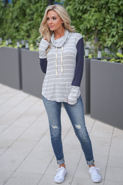 Get In Line Pullover Top - Grey/Navy women's long sleeve striped color block top closet candy boutique 3