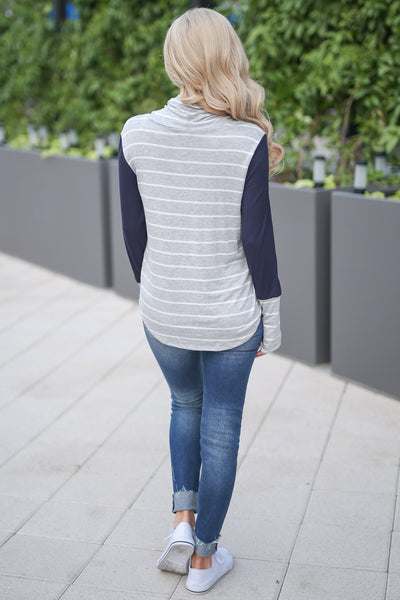 Get In Line Pullover Top - Grey/Navy women's long sleeve striped color block top closet candy boutique 4