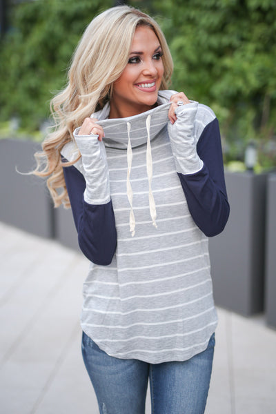 Get In Line Pullover Top - Grey/Navy women's long sleeve striped color block top closet candy boutique 1