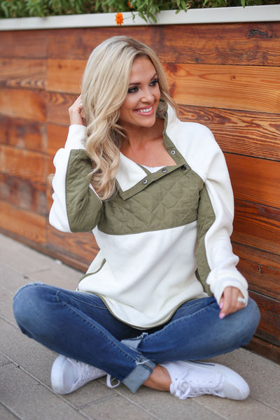 CCB Most Wanted Fleece Pullover - Olive, ivory women's quilted fleece pullover sweatshirt, closet candy boutique 1