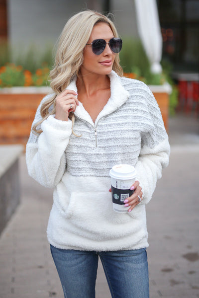 CCB Fuzzy Feelings Pullover - Grey and cream soft color block collared sweater closet candy boutique 4