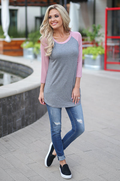 Whatever Comes Your Way Top - Dusty Rose women's color block two tone raglan shirt closet candy boutique 1