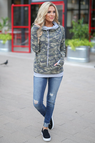 Keep It Confidential Hoodie - Camo print pullover sweatshirt with pocket, drawstrings and thumbholes closet candy boutique 2