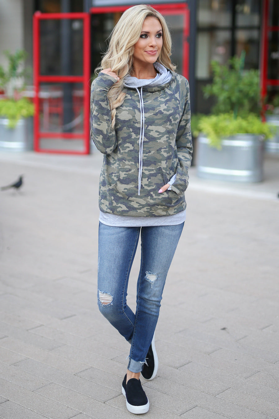 Keep It Confidential Hoodie - Camo print pullover sweatshirt with pocket, drawstrings and thumbholes closet candy boutique 1