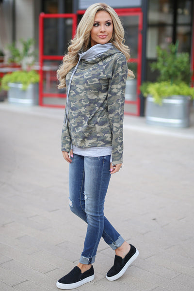 Keep It Confidential Hoodie - Camo print pullover sweatshirt with pocket, drawstrings and thumbholes closet candy boutique 4