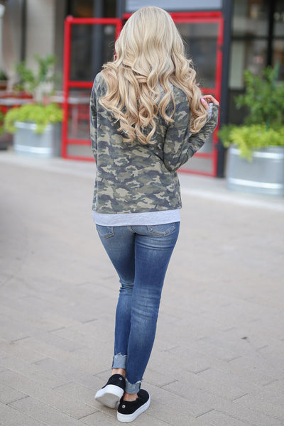Keep It Confidential Hoodie - Camo print pullover sweatshirt with pocket, drawstrings and thumbholes closet candy boutique 5