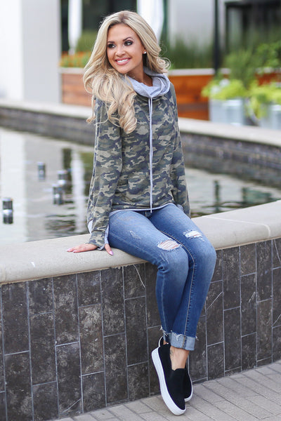 Keep It Confidential Hoodie - Camo print pullover sweatshirt with pocket, drawstrings and thumbholes closet candy boutique 3