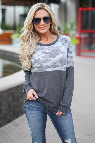 Off The Record Top - Camo/Charcoal women's waffle knit long sleeve sweater, fall fashion, cuddle weather closet candy boutique 1