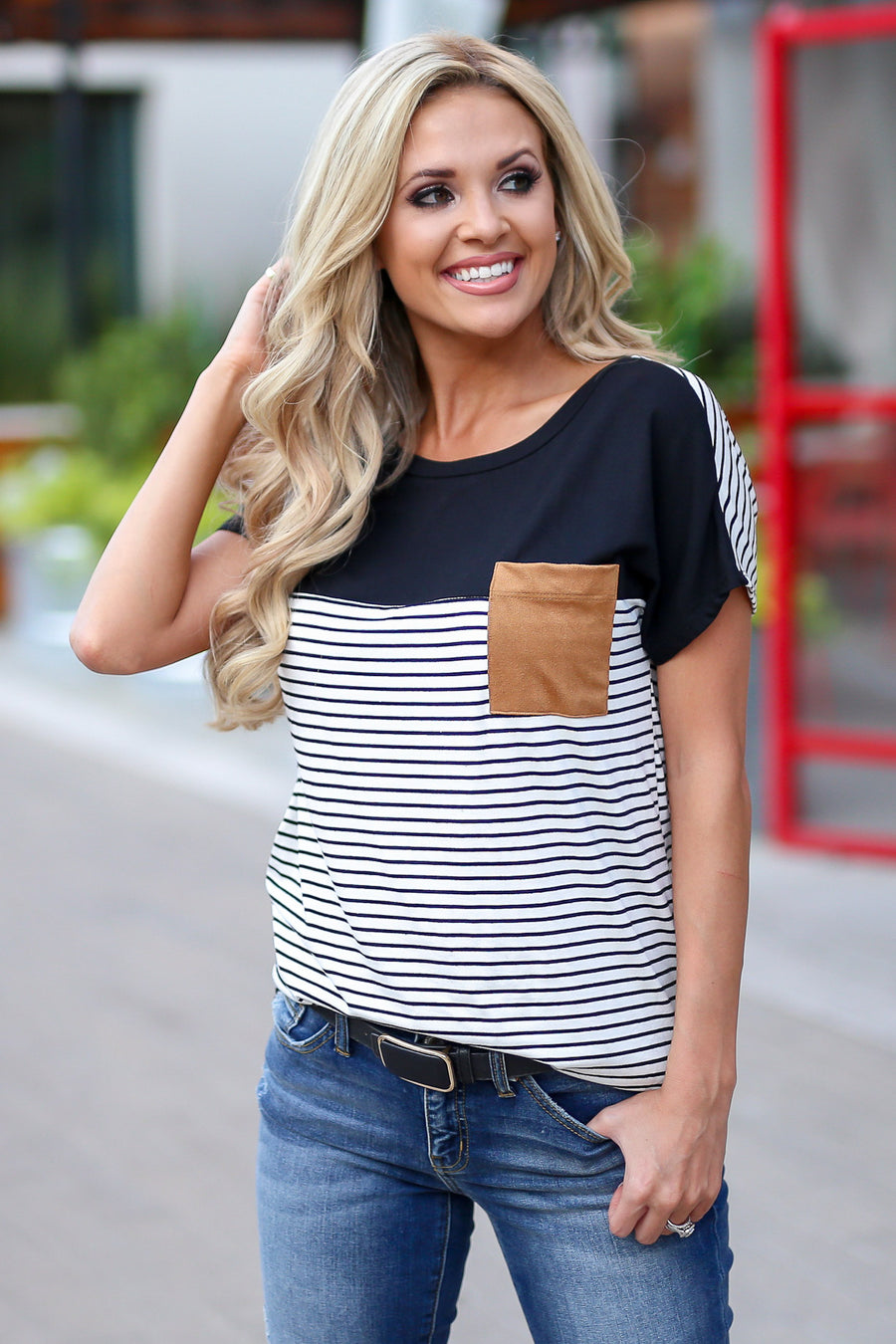 Taking Sides Top - Black women's cute casual striped tshirt closet candy boutique