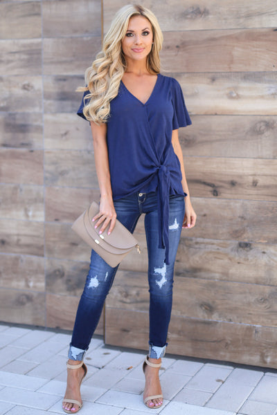 KAN CAN Retro Exposed Button Jeans - Dark Wash trendy women's cuff jeans closet candy boutique  5