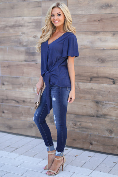 Sweet Serenity Top - Navy women's v-neck front tie shirt closet candy boutique 3