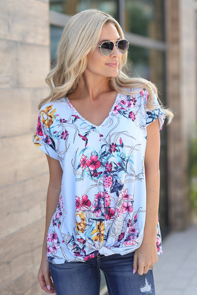 Cloud Nine Top - Sky Blue women's trendy cute knot front floral shirt closet candy boutique