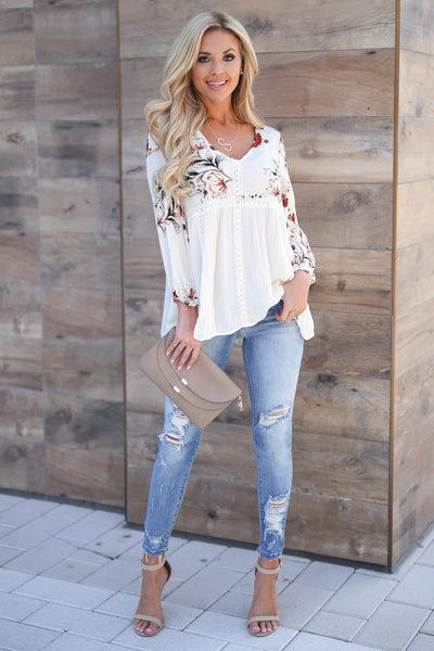 Daydreams Babydoll Top - Ivory women's 3/4 sleeve flowy floral babydoll top closet candy boutique 2