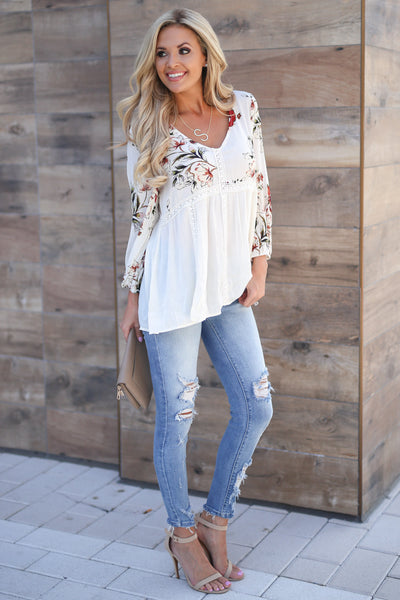 Daydreams Babydoll Top - Ivory women's 3/4 sleeve flowy floral babydoll top closet candy boutique 4