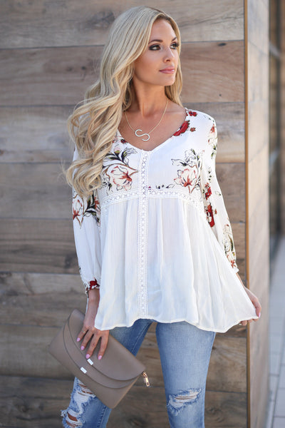 Daydreams Babydoll Top - Ivory women's 3/4 sleeve flowy floral babydoll top closet candy boutique 1